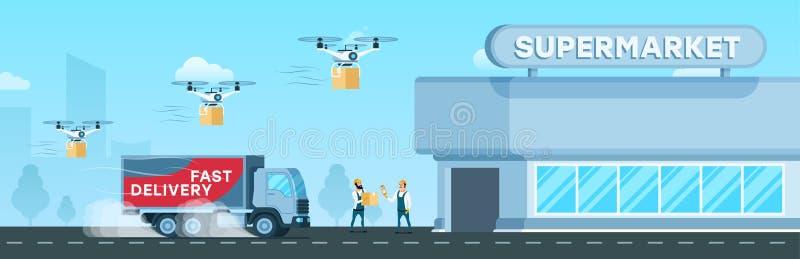 Camión expreso, entrega del abejón del aire al supermercado stock de ilustración