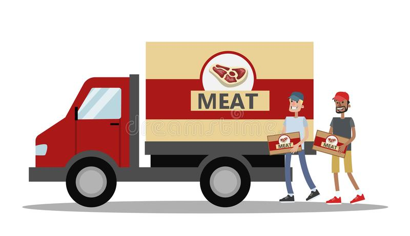 Camión grande por completo de la carne ilustración del vector