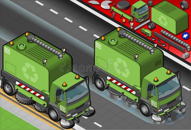 Camión isométrico del limpiador de la basura en Front View ilustración del vector