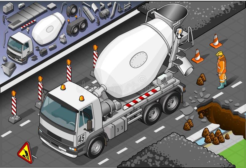 Camión isométrico del mezclador de cemento en Front View libre illustration
