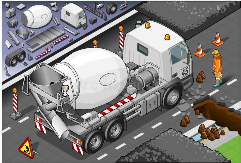 Camión isométrico del mezclador de cemento en vista posterior libre illustration