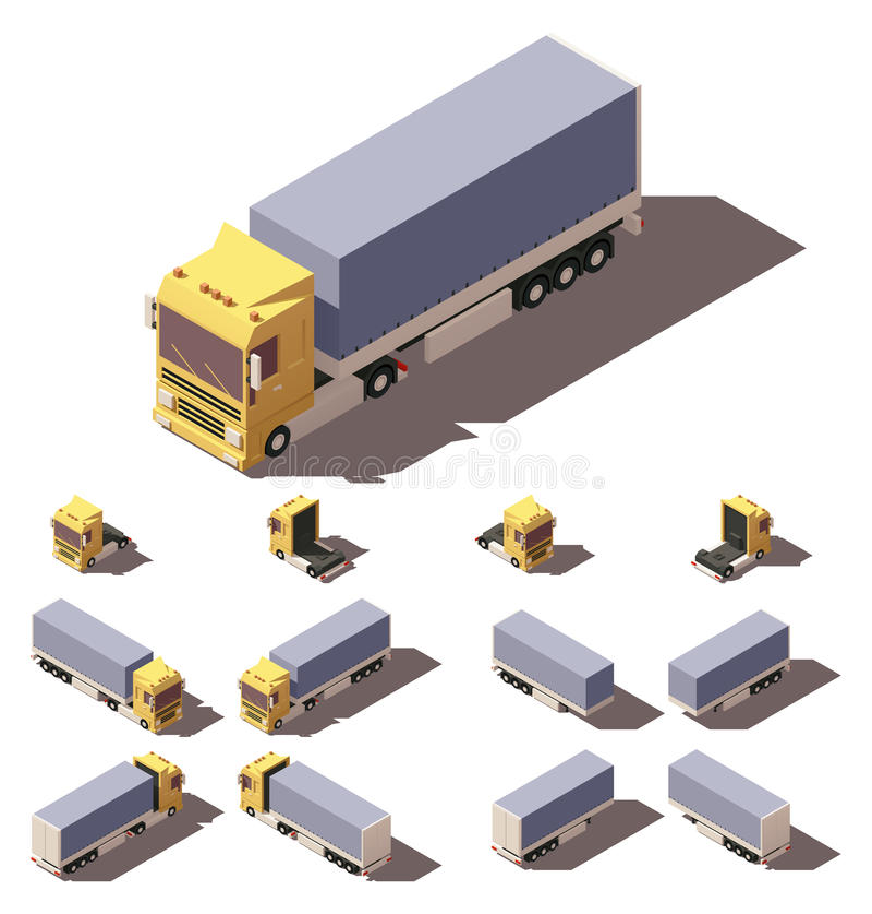 Camión isométrico del vector con el sistema inclinable del icono del semi-remolque de la caja stock de ilustración