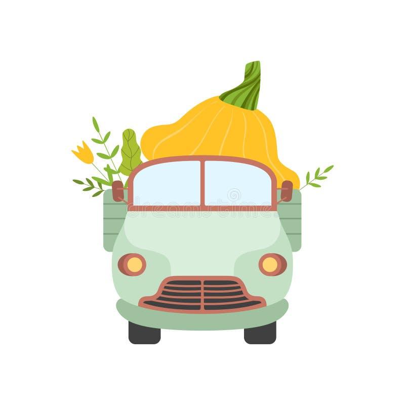 Camión lindo que entrega la calabaza gigante, Front View, envío del ejemplo fresco del vector de las verduras del jardín ilustración del vector