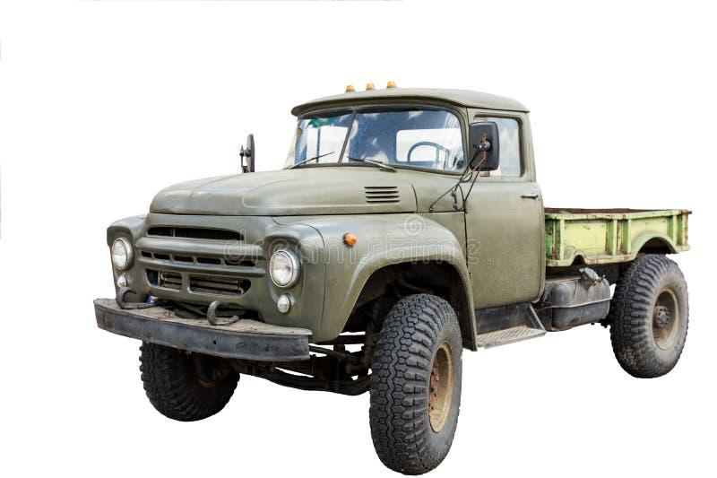 Camión militar soviético de la tolva del viejo vintage Aislado en blanco foto de archivo libre de regalías