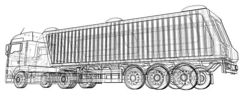 Camión moderno del cargo aislado en el fondo blanco Vehículo de Eurotrucks Ejemplo de trazado de 3d Formato del vector del EPS 10 libre illustration