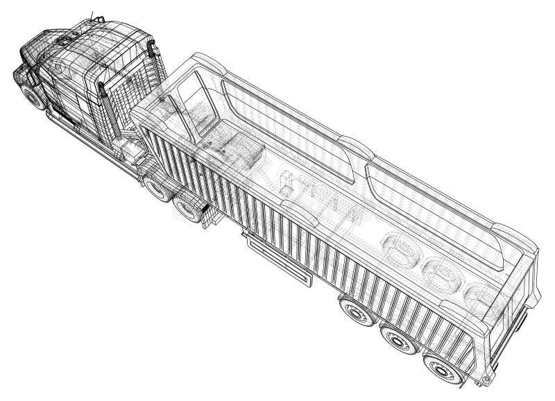 Camión moderno del cargo aislado en el fondo blanco Vehículo de Eurotrucks Ejemplo de trazado de 3d Formato del vector del EPS 10 stock de ilustración