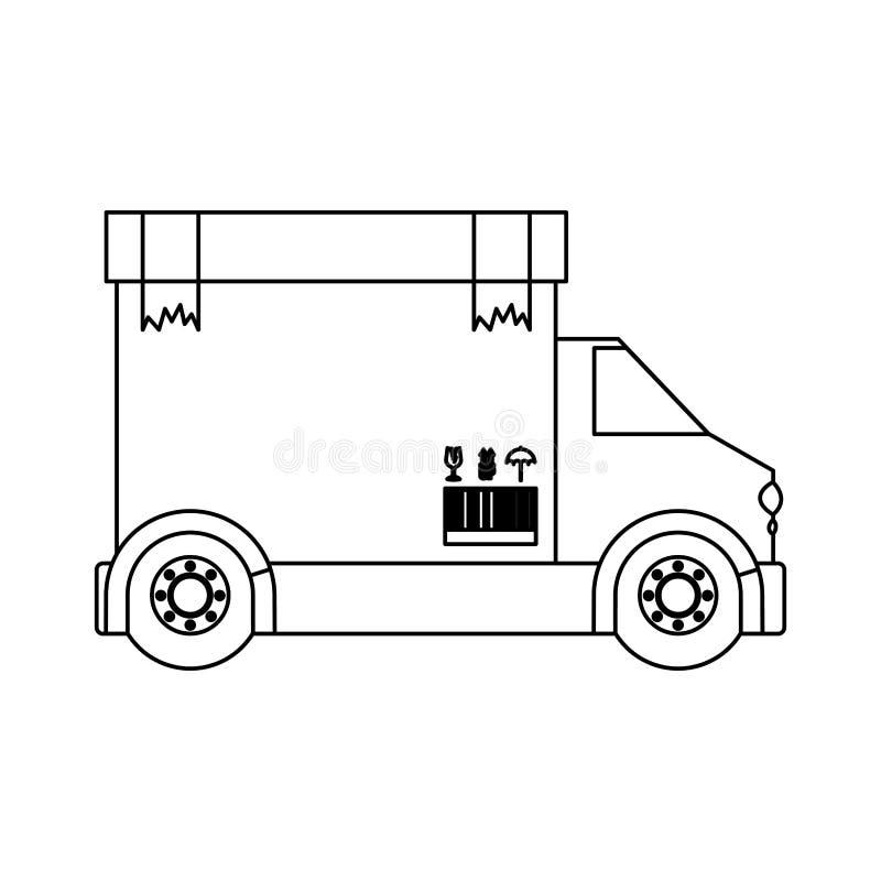 Camión negro del transporte del contorno de la silueta con la cinta del embalaje de la caja rota ilustración del vector