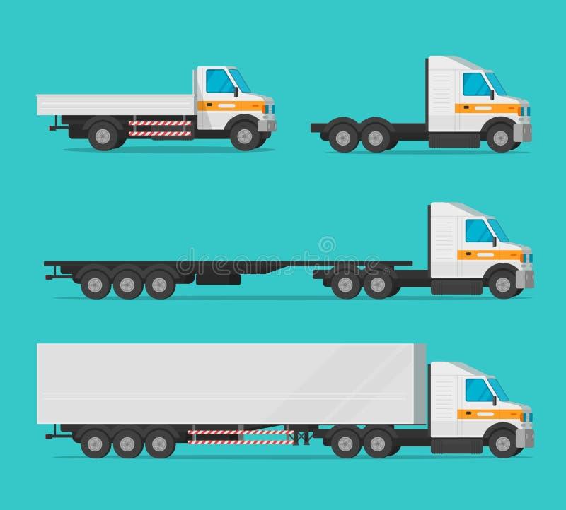 Camión o camión de carga y automóviles de entrega o conjunto de vectores de vehículos, transporte de carga cartográfica plana stock de ilustración