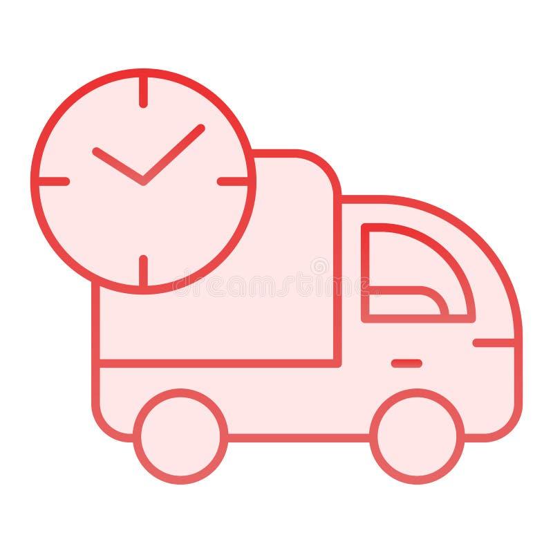 Camión que envía el icono plano Iconos rápidos del rosa de la entrega en estilo plano de moda Diseño expreso del estilo de la stock de ilustración