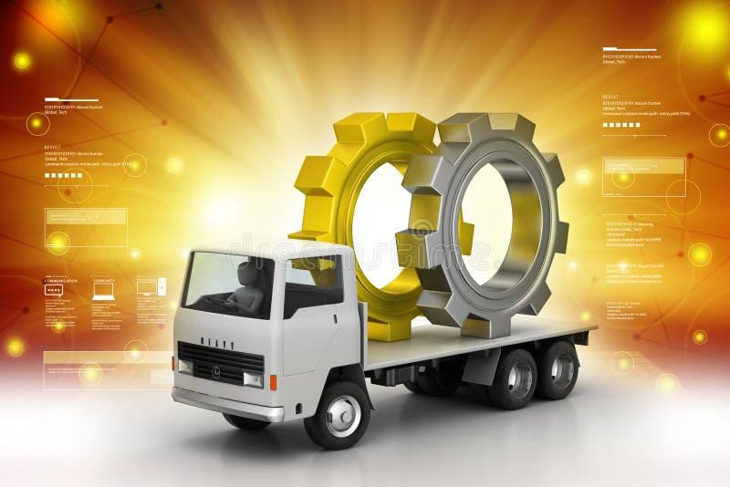 Camión que lleva la rueda de engranaje ilustración del vector