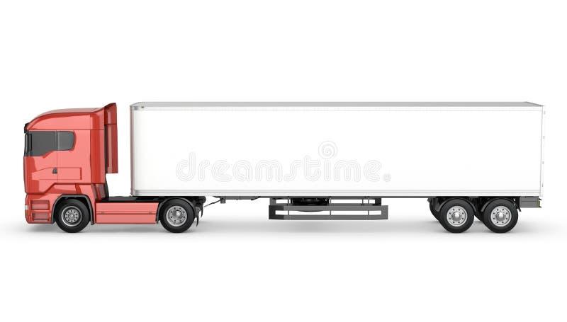 Camión rojo con el semi-remolque en blanco blanco ilustración del vector