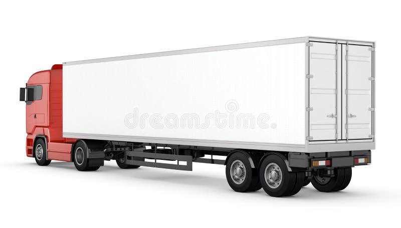 Camión rojo con el semi-remolque en blanco blanco aislado stock de ilustración