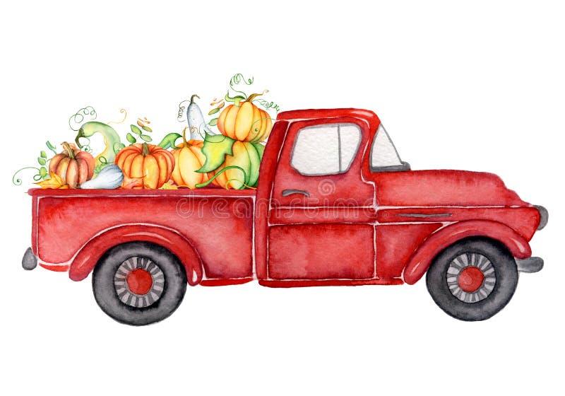 Camión rojo de la cosecha con el ejemplo de la acuarela de la acción de gracias de las calabazas stock de ilustración