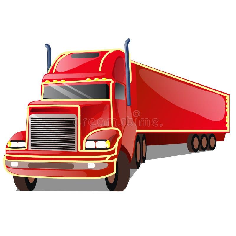 Camión rojo de la historieta aislado en el fondo blanco Ejemplo del primer de la historieta del vector ilustración del vector