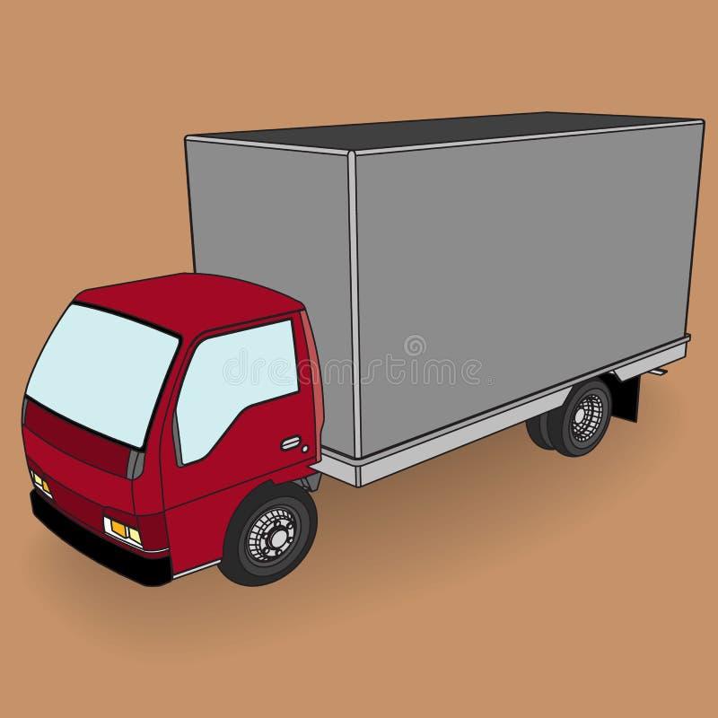 Camión rojo del cargo con la caja en blanco ilustración del vector
