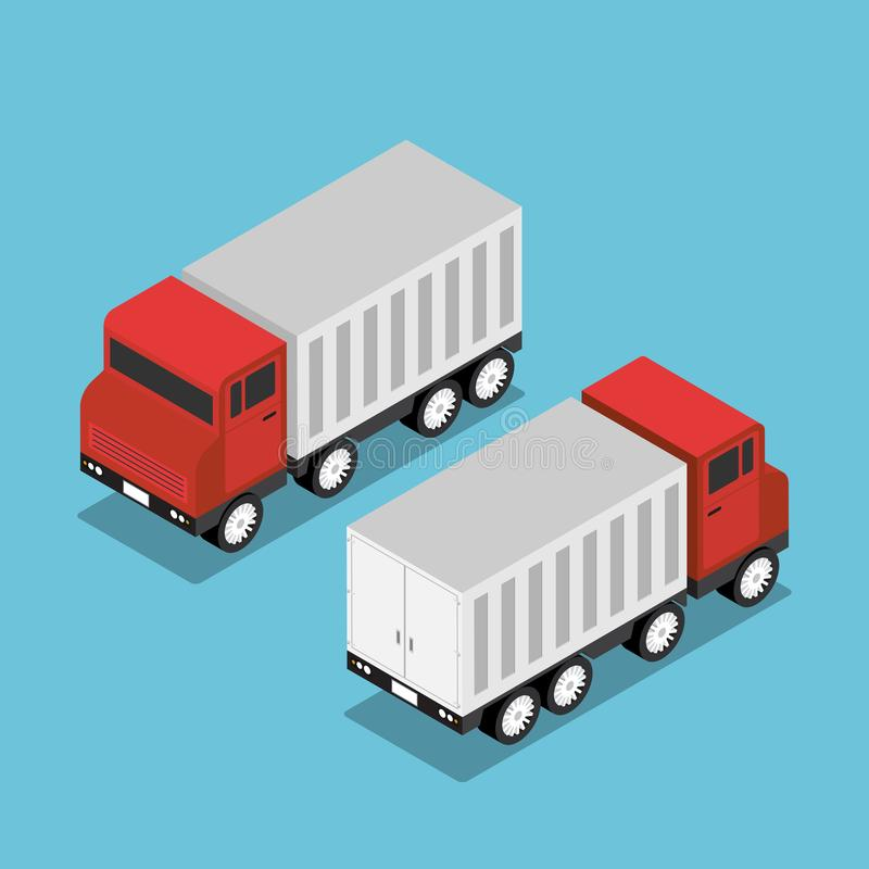 Camión rojo isométrico con el remolque blanco stock de ilustración