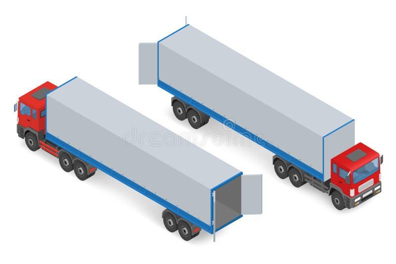 Camión rojo isométrico sin un remolque ilustración del vector