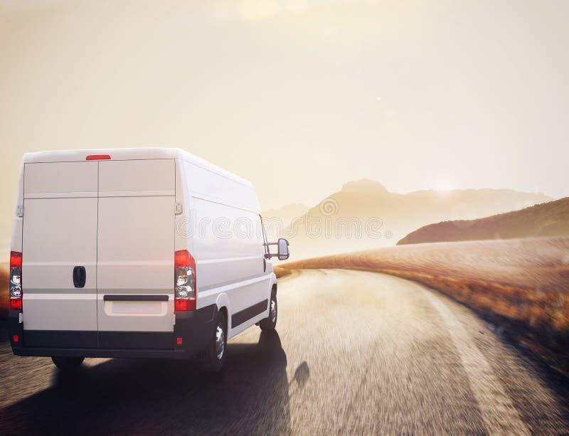 Camión rojo y blanco representación 3d fotografía de archivo