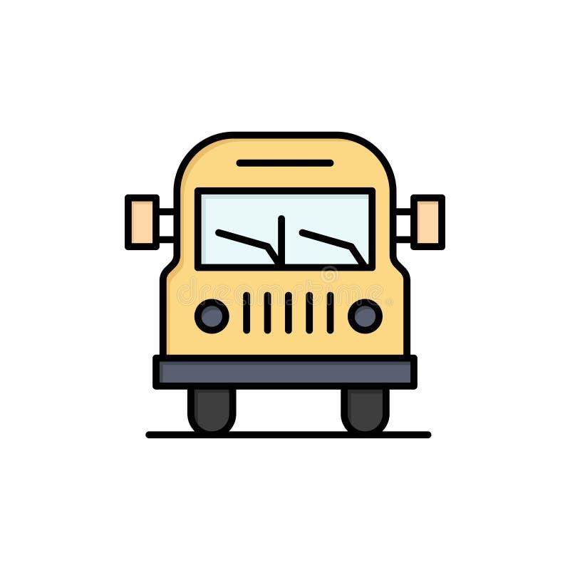 Camión, Van, vehículo, icono plano del color de la educación Plantilla de la bandera del icono del vector libre illustration