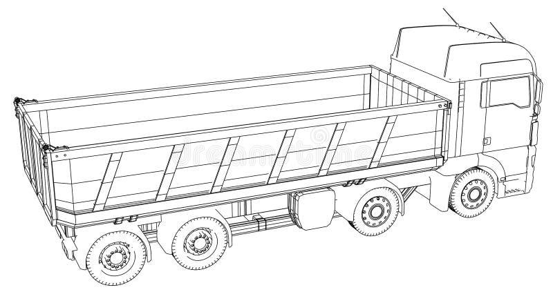Camión volquete aislado Ejemplo creado de 3d Alambre-marco libre illustration