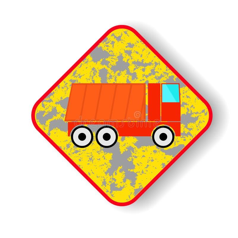 Camión volquete de la señal de tráfico ilustración del vector