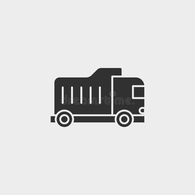 Camión volquete, edificio, icono, símbolo aislado ejemplo plano de la muestra del vector - negro del vector del icono de las herr libre illustration