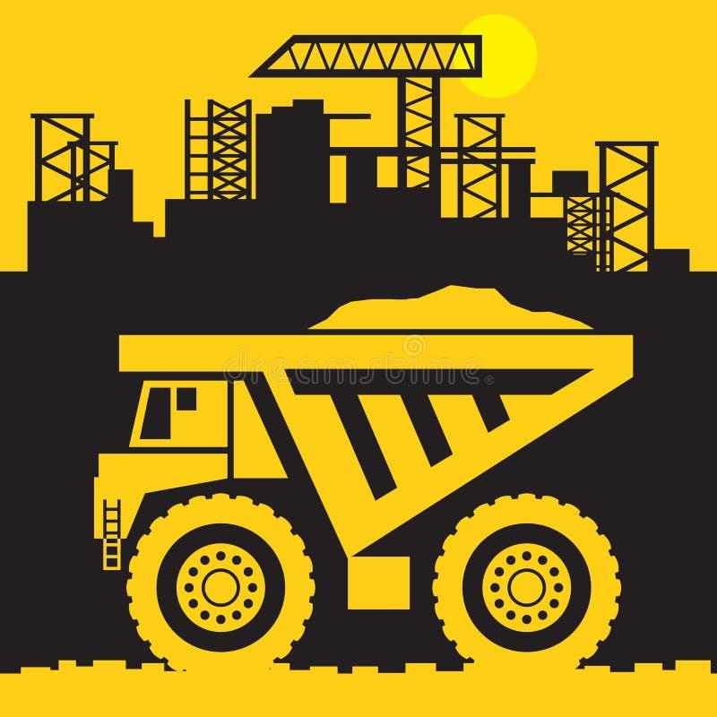 Camión volquete gigante, maquinaria del poder de la construcción ilustración del vector