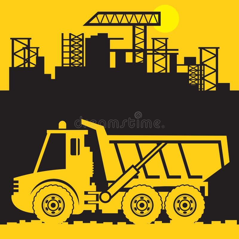 Camión volquete, maquinaria del poder de la construcción ilustración del vector