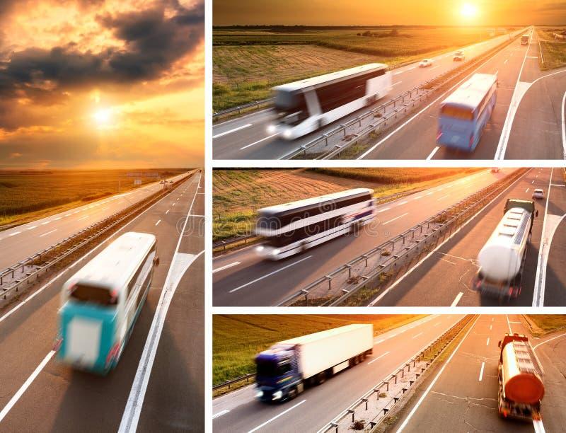 Camión y autobús en la carretera en la puesta del sol - bandera imágenes de archivo libres de regalías