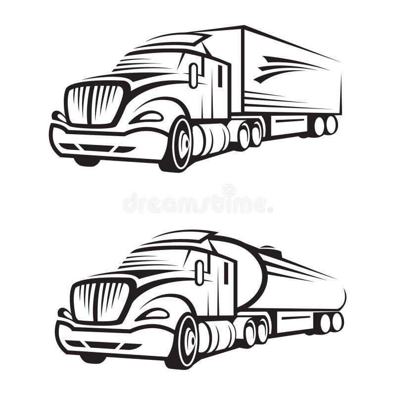 Camión y camión del tanque stock de ilustración