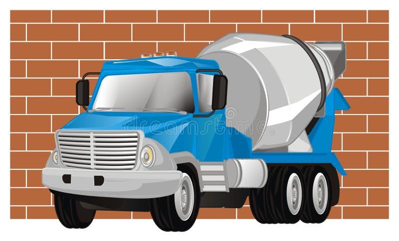 Camión y pared del cemento stock de ilustración
