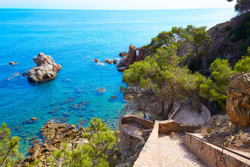 Cami de Ronda track Lloret de Mar of Costa Brava royalty free stock photo