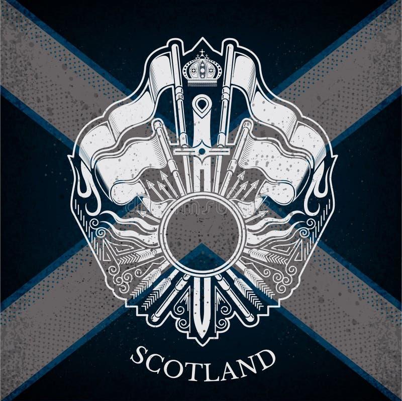Camice delle armi con le armi della struttura e dell'annata del cerchio sul fondo della bandiera della Scozia royalty illustrazione gratis