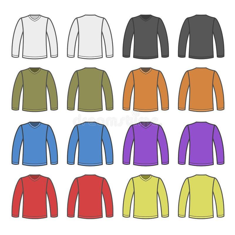 Camice lungamente collegate della maglietta degli uomini di colore messe Vettore royalty illustrazione gratis