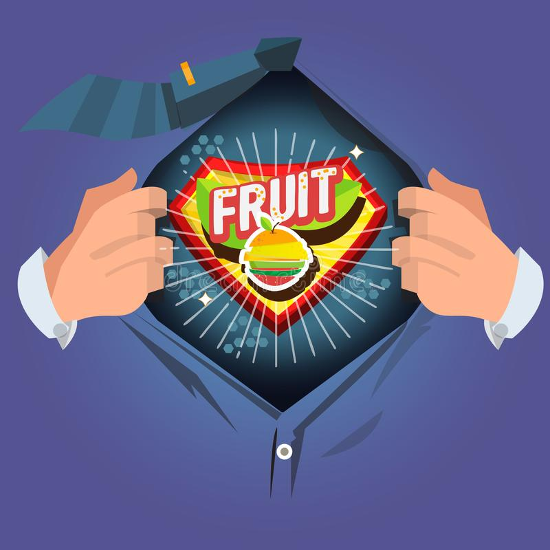 """Camicia aperta dell'uomo per mostrare il logtye """"della frutta """"con il vareity affettato dei frutti nello stile comico - vettore illustrazione vettoriale"""