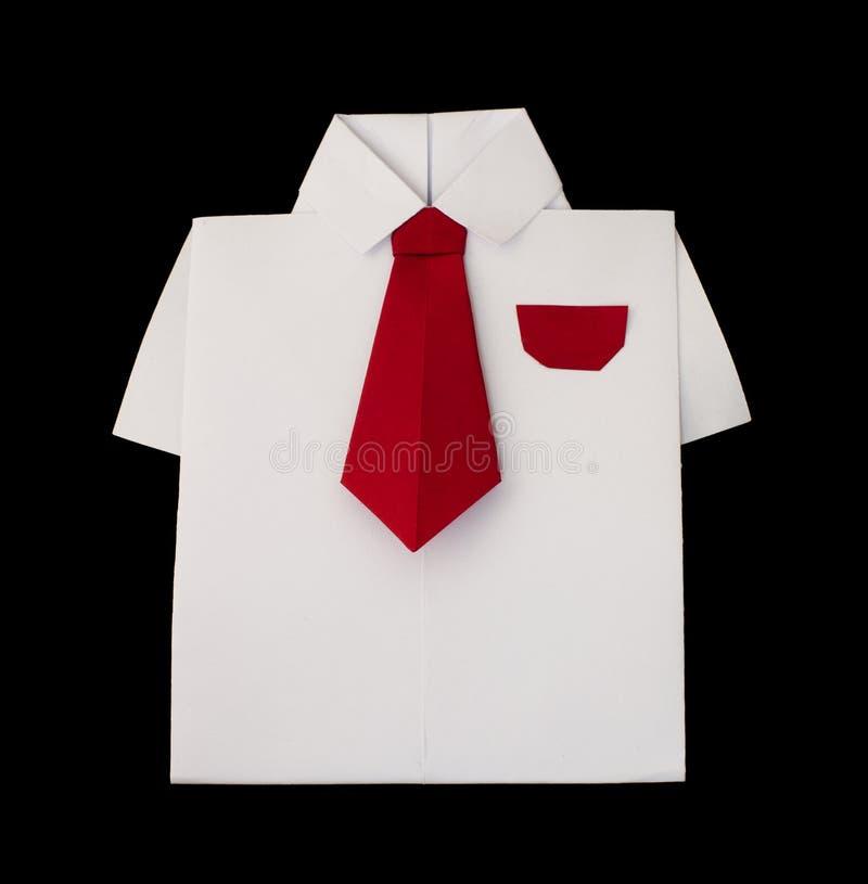 Camicia bianca di Origami con il legame fotografie stock