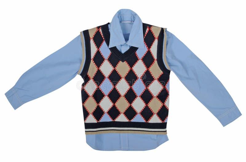 Camicia blu e maglia a quadretti fotografie stock