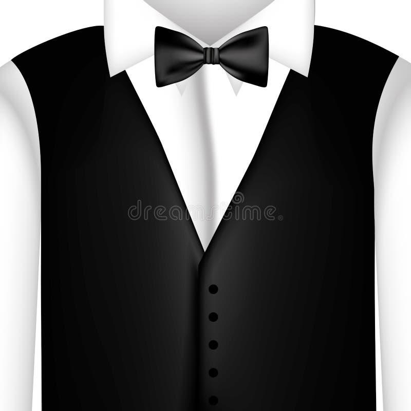 camicia dell'autoadesivo con il farfallino ed il panciotto illustrazione di stock