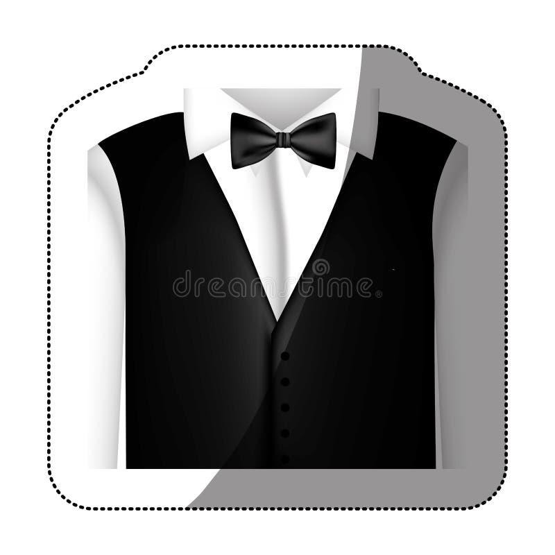 camicia dell'autoadesivo di colore con il farfallino ed il panciotto illustrazione vettoriale