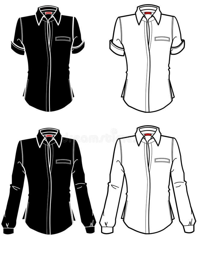 Camicia delle zolle di modo con i brevi e manicotti lunghi illustrazione di stock