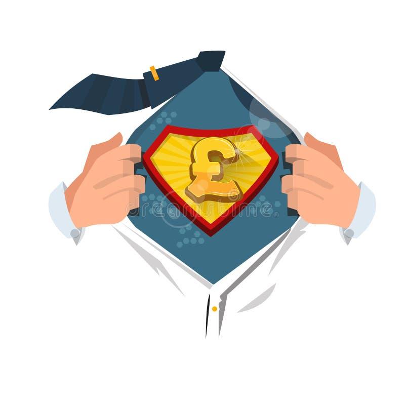 Camicia di apertura del Moneyman per mostrare il ` dell'icona di sterlina del ` nello stile comico Concetto dei soldi royalty illustrazione gratis