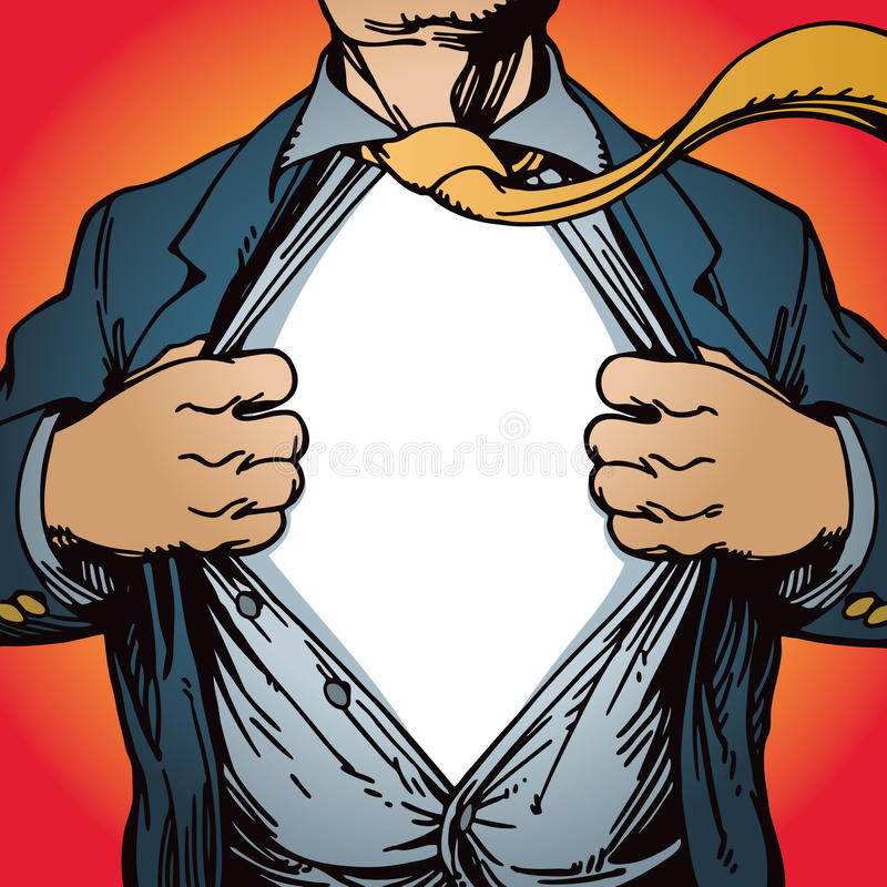 Camicia di apertura del supereroe royalty illustrazione gratis