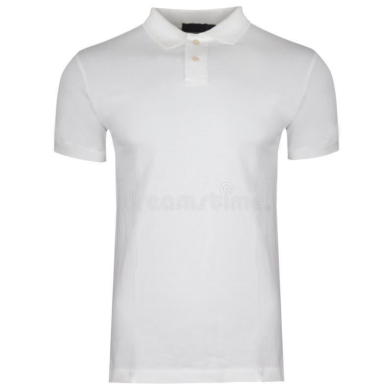 Camicia di polo bianca, vestiti su un fondo bianco immagine stock