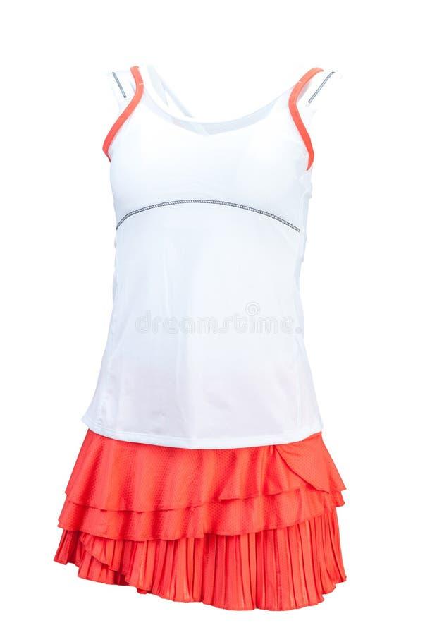 Camicia e gonna di tennis Isolato su priorità bassa bianca fotografie stock