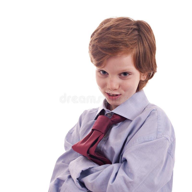 Camicia e legame del bambino, sorridenti fotografia stock