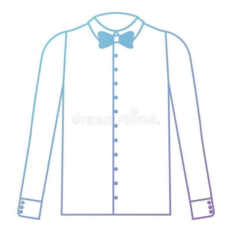 Camicia elegante con la cravatta a farfalla illustrazione di stock