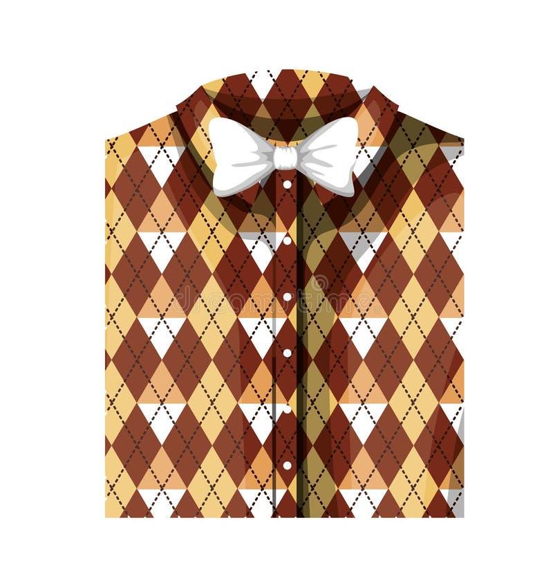 Camicia elegante piegata con la cravatta a farfalla royalty illustrazione gratis