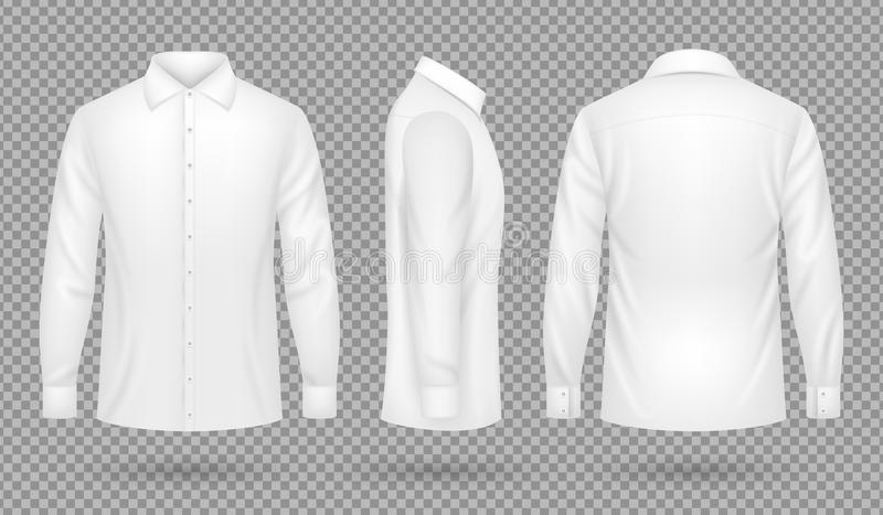 Camicia maschio in bianco bianca con le maniche lunghe nella parte anteriore, lato, viste posteriori Modello realistico di vettor illustrazione vettoriale