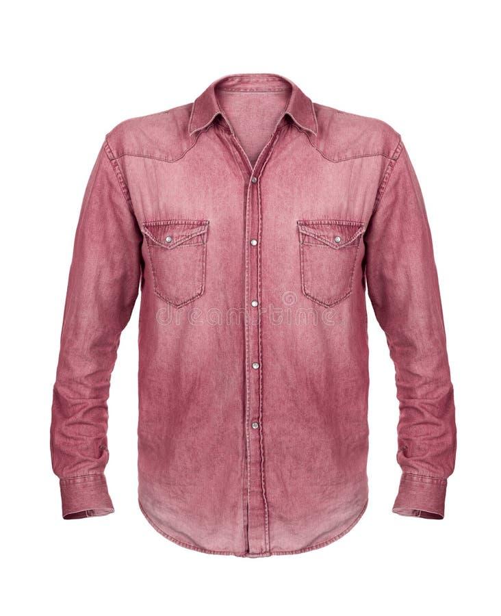 Camicia rossa del tralicco isolata su bianco fotografia stock libera da diritti
