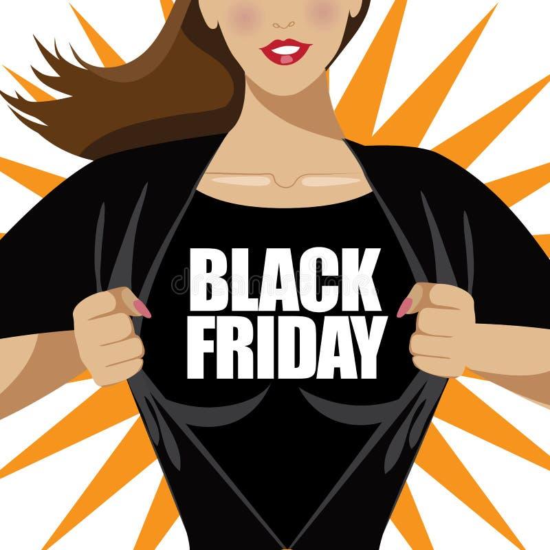 Camicia strappante della donna di Black Friday aperta royalty illustrazione gratis